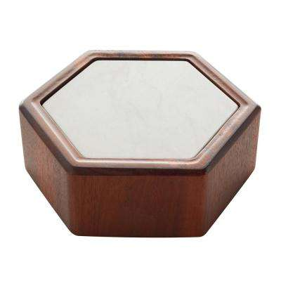 Urban Story 8 Inches 2-Piece Hex Marble/Wood Bowl Set