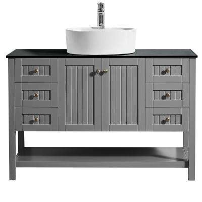 Modena 48 in. Bath Vanity in Grey with Tempered Glass Vanity Top in Black with White Vessel Sink