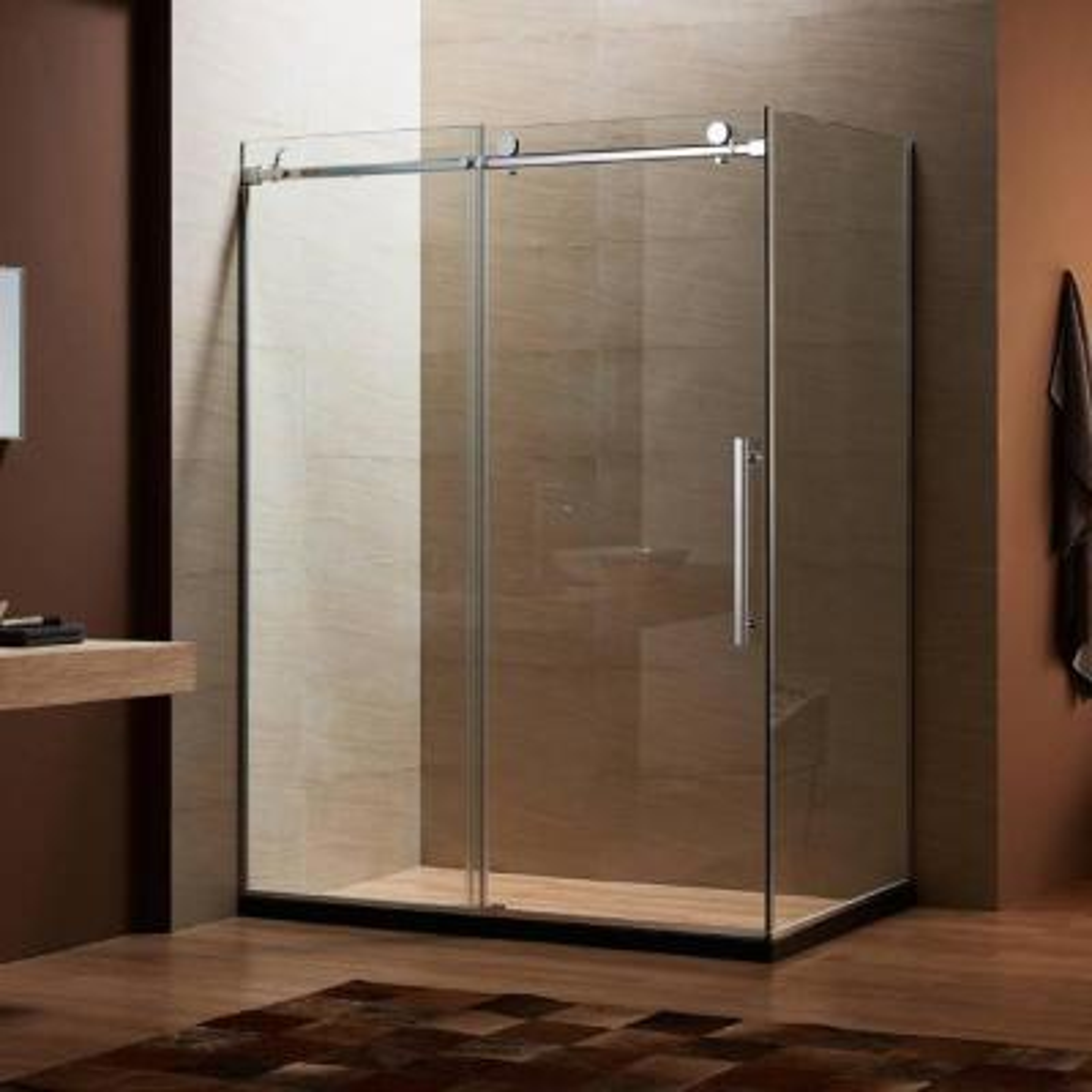 60 in. x 79 in. x 32 in. Frameless Sliding Shower Door Kit in Stainless Steel