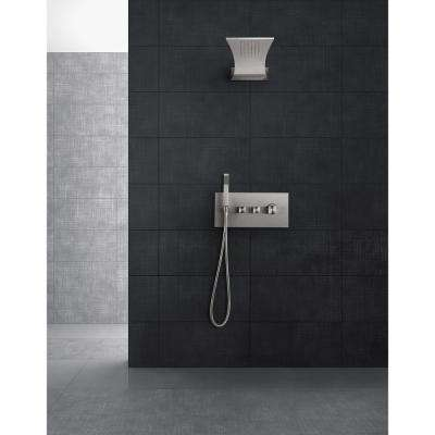 Single-Handle 3-Spray Tub and Shower Faucet in Brushed Steel (Valve Included)