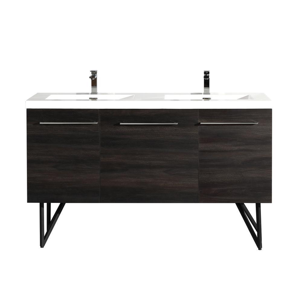 Annecy 60 in. Double, 2-Door, 1 Drawer Bathroom Vanity in Black with White Basin