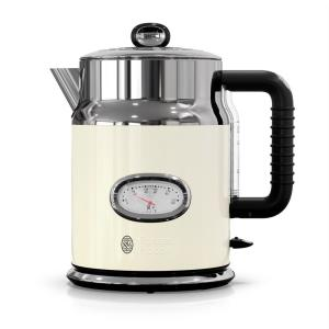 Retro Style 5-Cup/1.7 l Electric Kettle in Cream and Stainless Steel