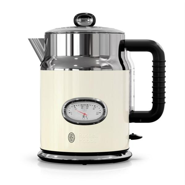 Russell Hobbs Retro Style 5-Cup/1.7 l Electric Kettle in Cream and Stainless Steel