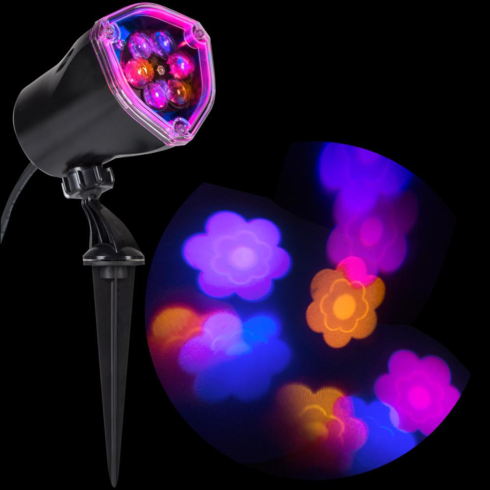 LightShow 11.81 in. Pink/Blue/Purple/Yellow Flower Projection ...