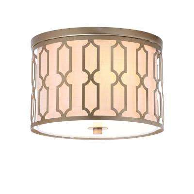 Link 2-Light Soft Gold 12.75 in. Metal Flush Mount