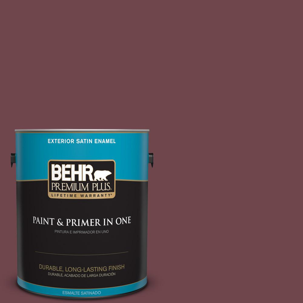 1 gal. #PPU1-14 Formal Maroon Satin Enamel Exterior Paint