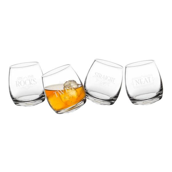 Cathy's Concepts With a Twist 7 oz. Tipsy Whiskey Glasses (4-Pack)