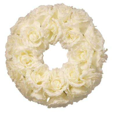 16.5 in. Glittered Rose Wreath with 8 in. Foam Base