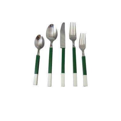 Northfield 20-Piece Green and White Stainless Flatware Set