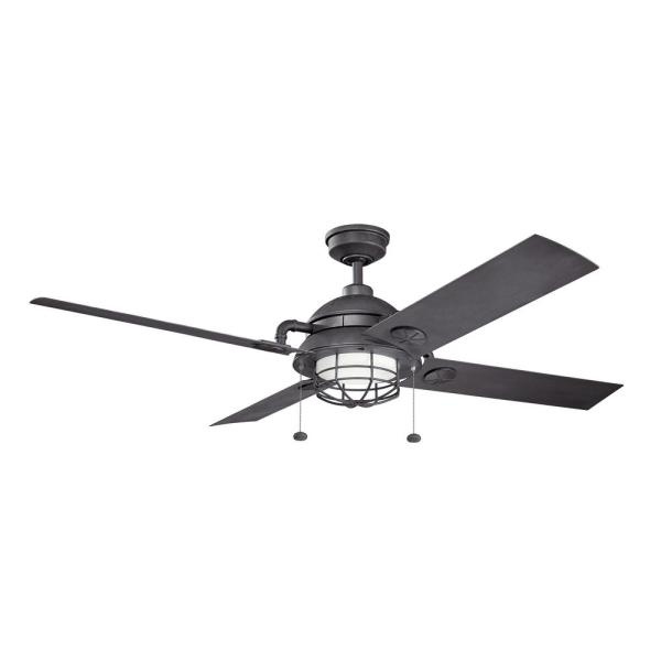 Maor Patio 65 in. Integrated LED Indoor Distressed Black Downrod Mount Ceiling Fan with Light Kit