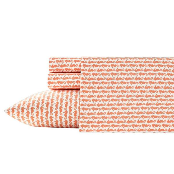 Poppy & Fritz Poppy & Fritz Cotton Percale Printed 4-Piece Coral Graphic 200 Thread Count Queen Sheet Set