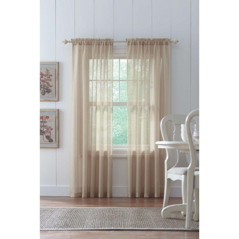 Home Decorators Collection Sheer Sand Highline Textured Sheer Rod Pocket Curtain 52 In W X 84