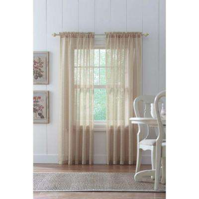 Sheer Sand Highline Textured Sheer Rod Pocket Curtain - 52 in. W x 84 in. L
