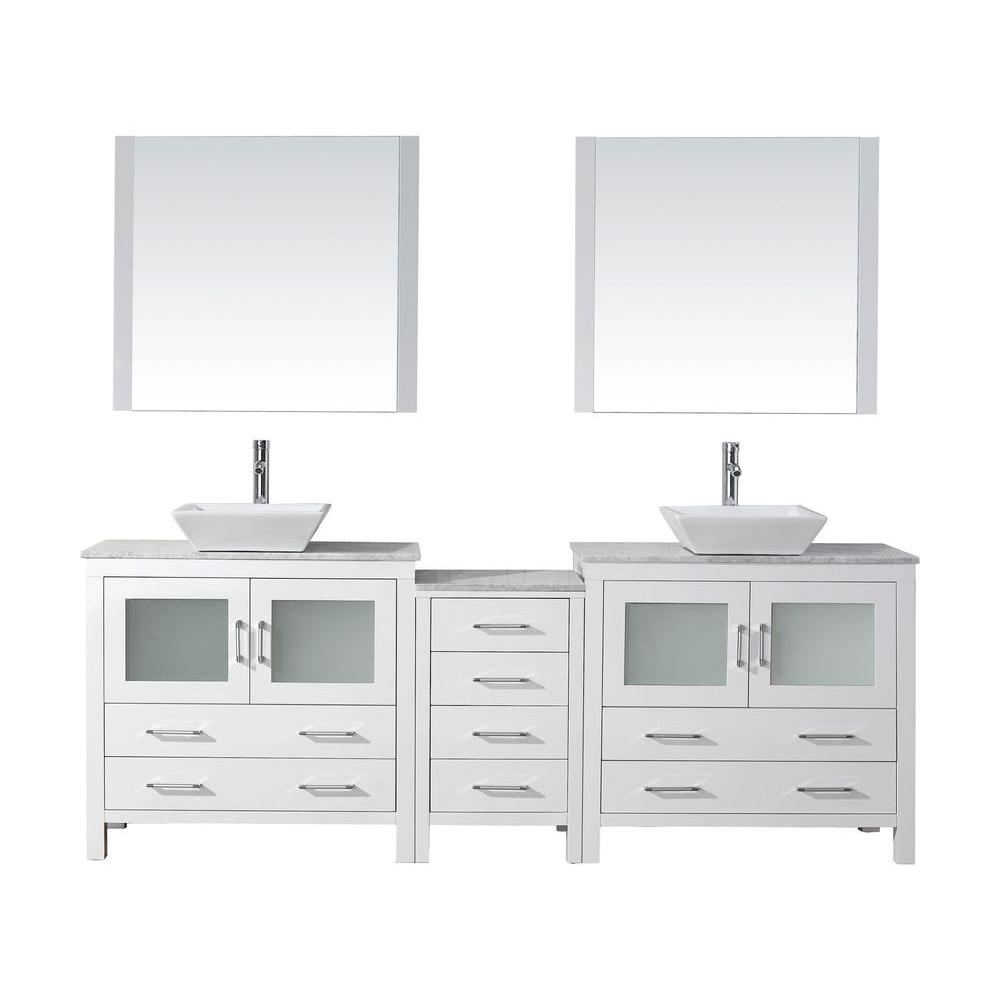 Virtu USA Dior 79 in. W Bath Vanity in White with Marble Vanity Top in White with Square Basin and Mirror and Faucet