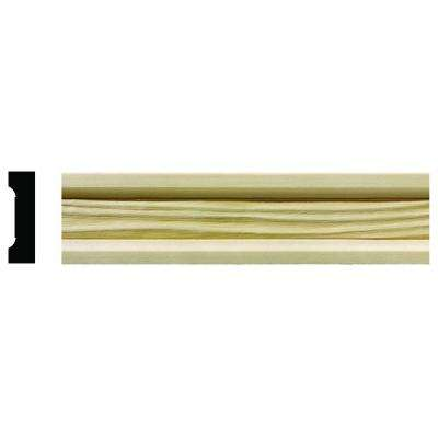 1622 1/2 in. x 1-3/4 in. x 6 in. Hardwood White Unfinished Wave Small Chair Rail Moulding Sample