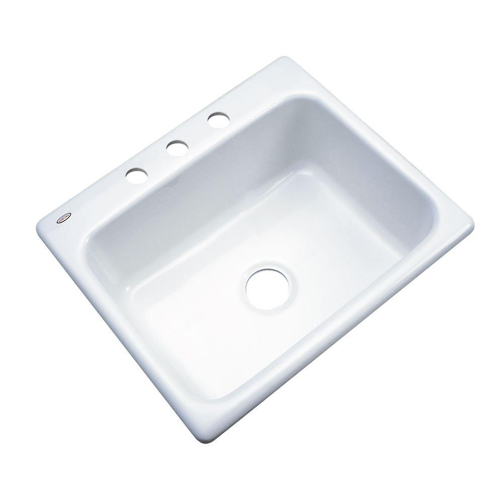 Thermocast Inverness Drop-In Acrylic 25 in. 3-Hole Single Bowl Kitchen Sink in White