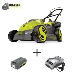 16 in. 40-Volt Cordless Battery Walk Behind Push Mower Kit with 4.0 Ah Battery + Charger