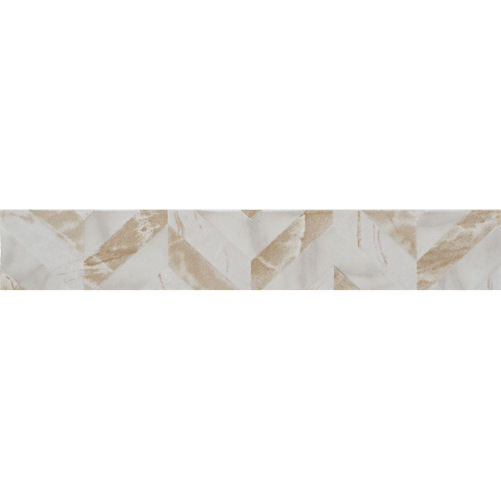 Michelangelo White 2 in. x 12 in. Ceramic Wall Listello Tile