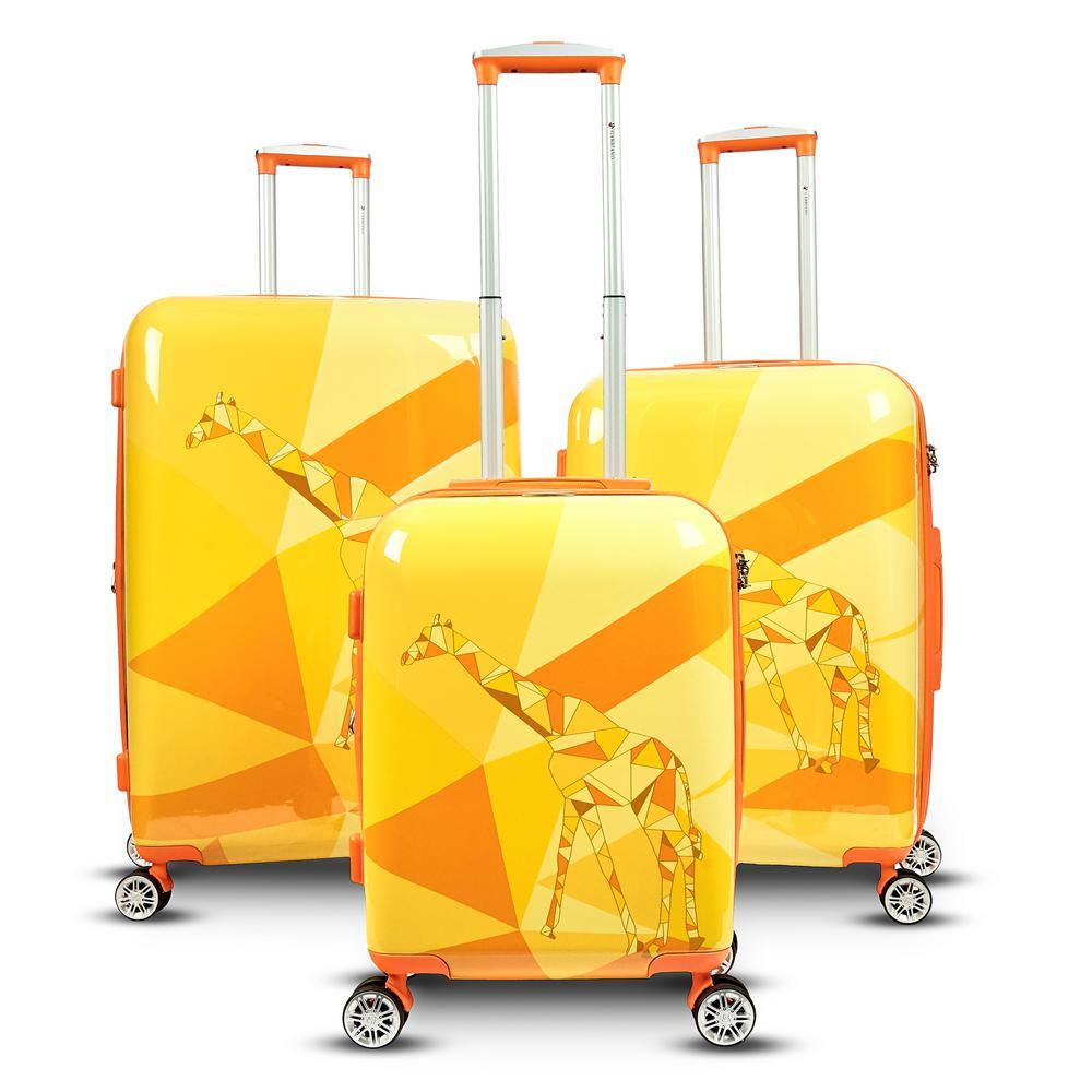 Safari 3-Piece Upright Hardside Spinner Luggage Set in Giraffe