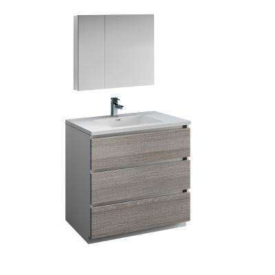 Lazzaro 36 in. Modern Bathroom Vanity in Glossy Ash Gray with Vanity Top in White with White Basin and Medicine Cabinet