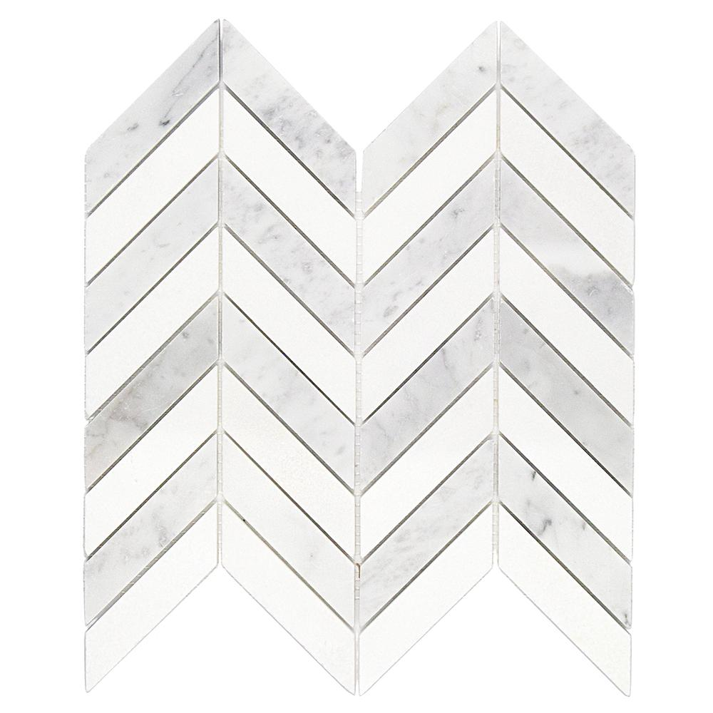 Ivy Hill Tile Dart White Carrara and Thassos Marble Mosaic Tile - 3 in. x 6 in. Tile Sample