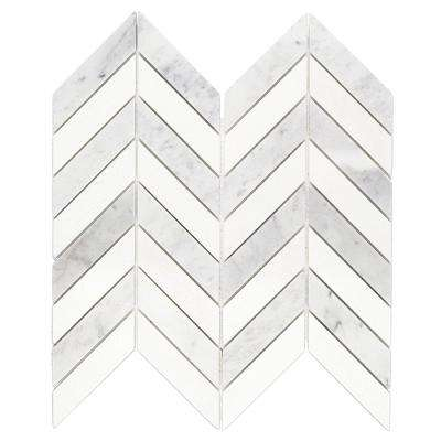 Dart White Carrara and Thassos Marble Mosaic Tile - 3 in. x 6 in. Tile Sample