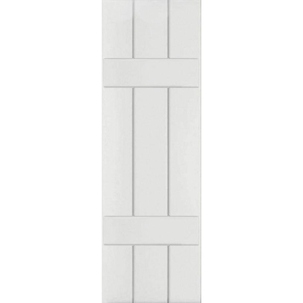 Ekena Millwork 12 in. x 34 in. Exterior Real Wood Western Red Cedar Board & Batten Shutters Pair Primed