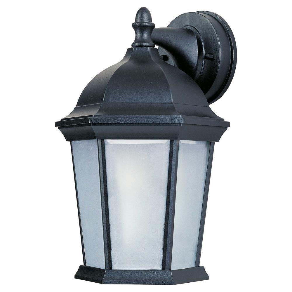 Side Door 8 in. W 1-Light Black Outdoor Wall Lantern Sconce