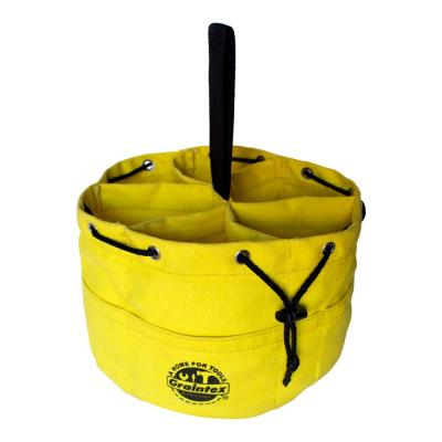 10 in. 6-Pocket Yellow Canvas Grab Tool Bag with Drawstring Closure