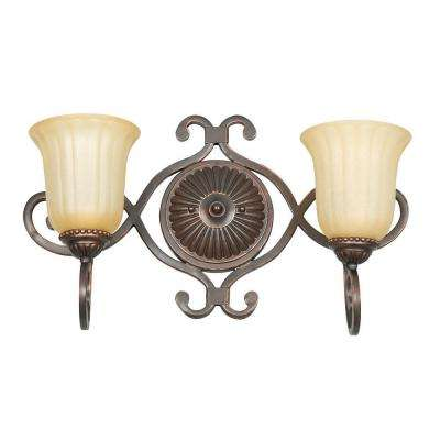 Hazelwood 2-Light Mahogany Brass Bath Vanity Light