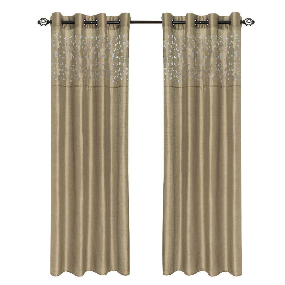 Lavish Home Taupe Karla Laser Cut Grommet Curtain Panel 108 In Length