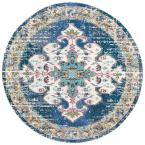 Madison Navy/Gray 5 ft. x 5 ft. Round Area Rug