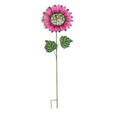 48 in. Metal Glitter Sunflower on Pink Wobbly Stake