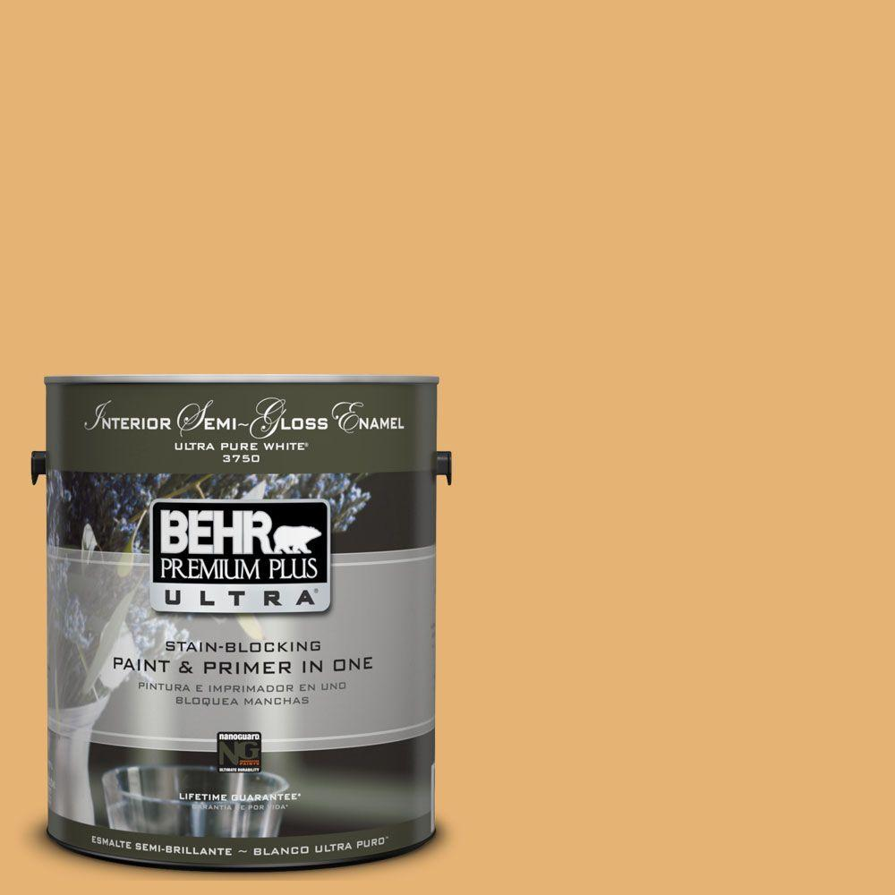 BEHR Premium Plus Ultra 1-gal. #UL150-13 Pyramid Gold Interior Semi-Gloss Enamel Paint
