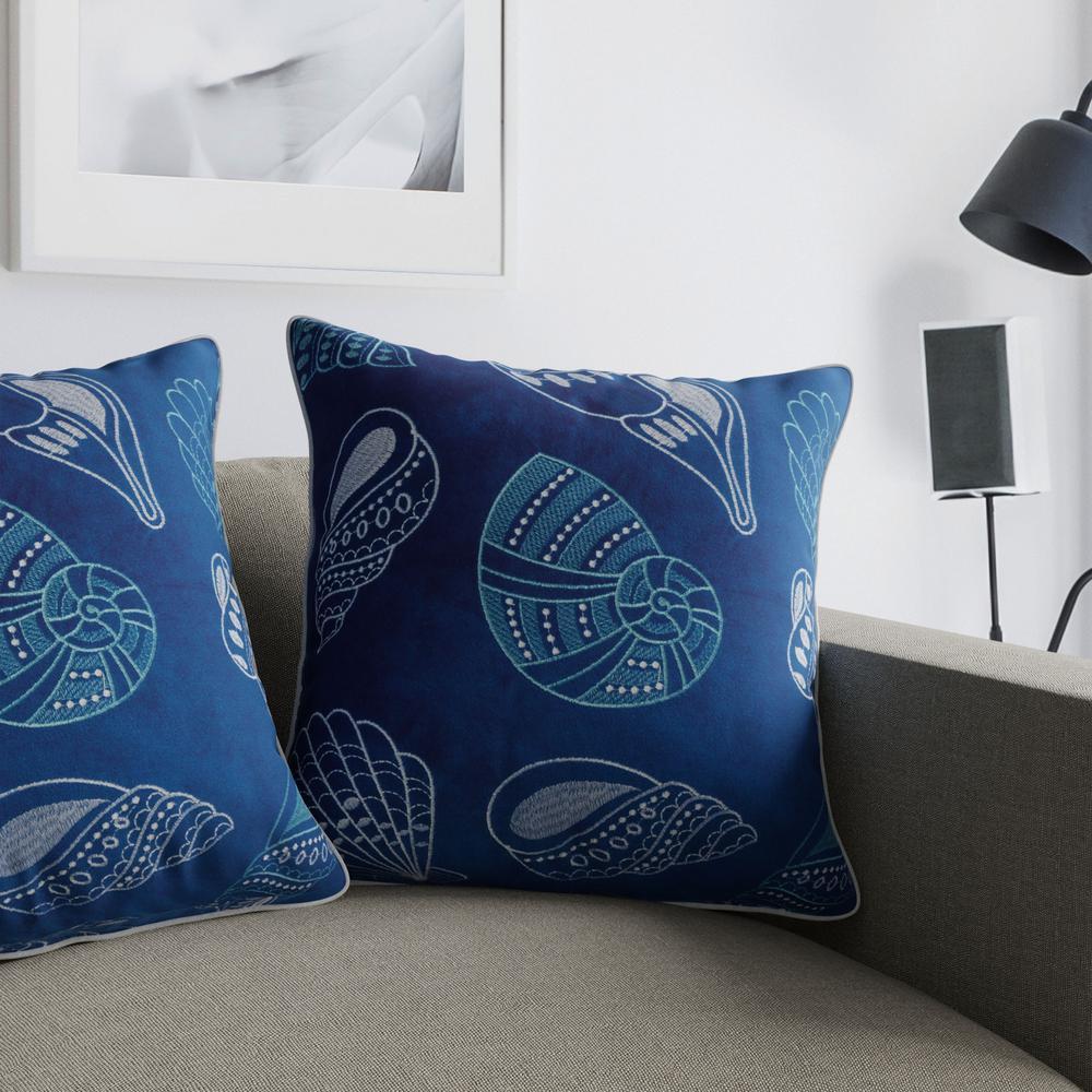 Seashell Blue Decorative Pillow (Set of 2)