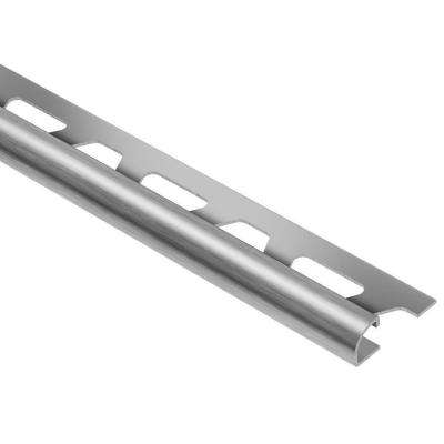 Rondec Brushed Stainless Steel 3/8 in. x 8 ft. 2-1/2 in. Metal Bullnose Tile Edging Trim