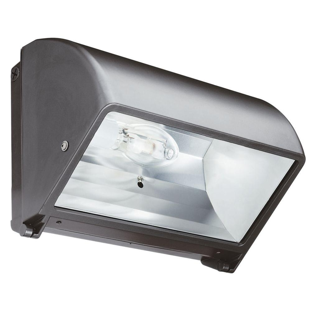 Lithonia Lighting Metal Halide Small Bronze Cut-Off Wall Pack with Glass Lens with Multi-Tap Ballast