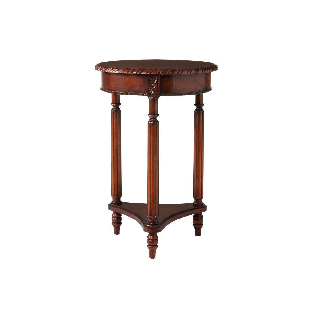 Home Decorators Collection 29 in. H Baldwin Round Pedestal in Brown