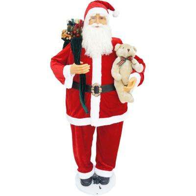 58 in. Christmas Dancing Santa with Teddy Bear