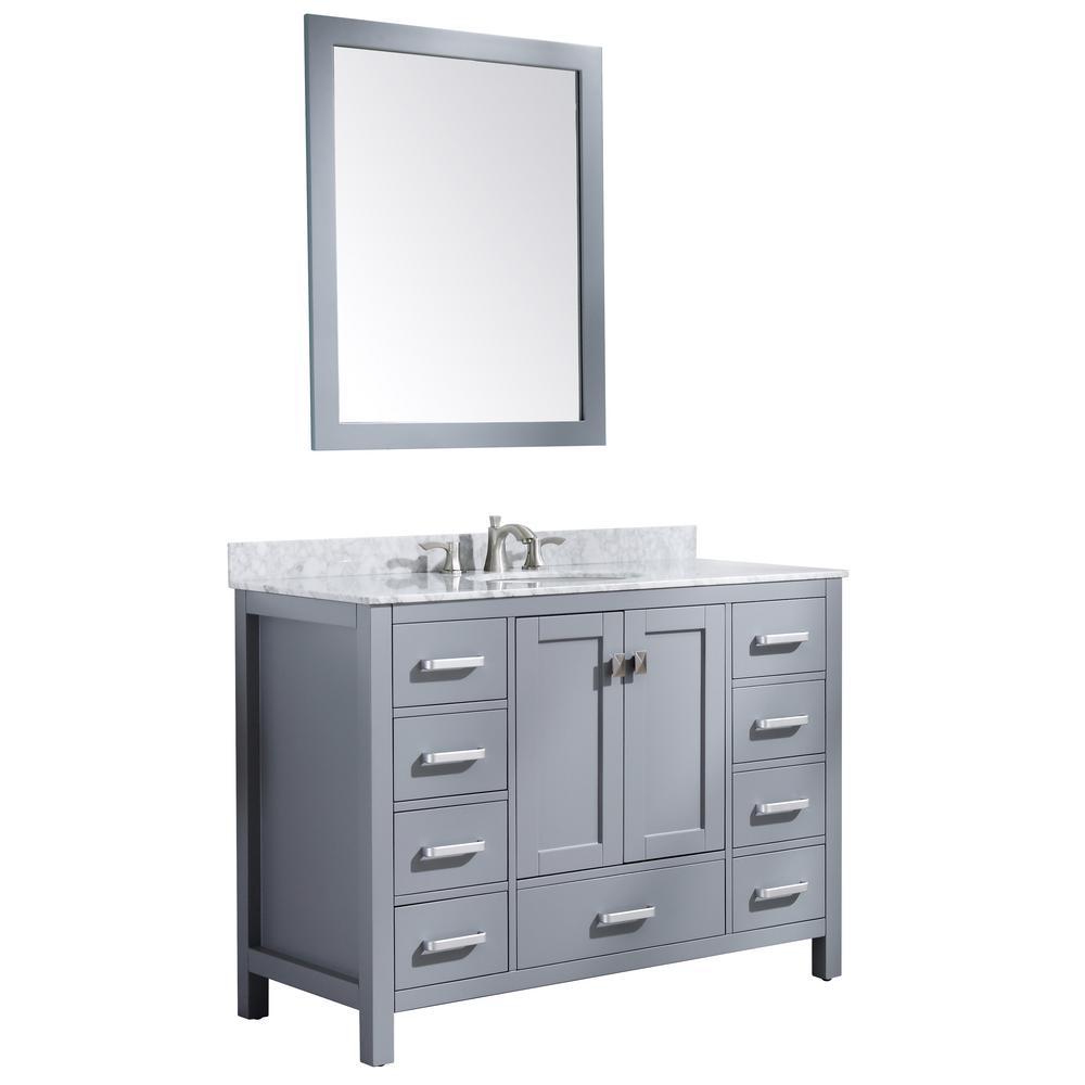 ANZZI Chateau 48 in. W x 36 in. H Bath Vanity in Rich Gray with Marble Vanity Top in Carrara White with White Basin and Mirror