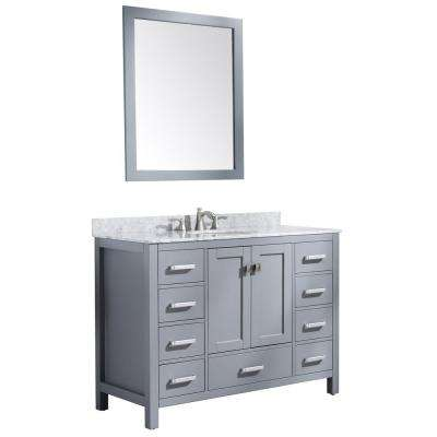 Chateau 48 in. W x 36 in. H Bath Vanity in Rich Gray with Marble Vanity Top in Carrara White with White Basin and Mirror