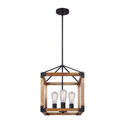 Moss 4-Light Matte Black and Real Wood Chandelier