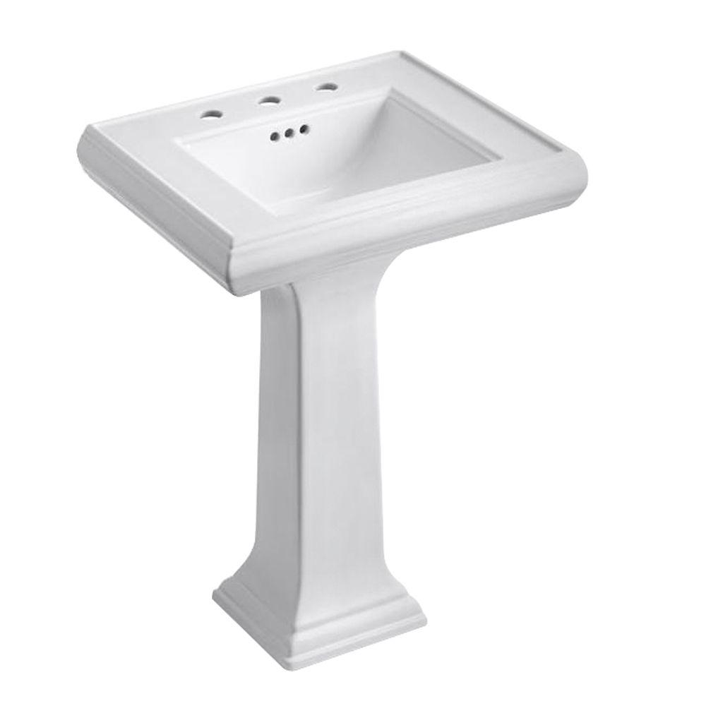 Memoirs Ceramic Pedestal Combo Bathroom Sink With Clic Design In White Overflow Drain