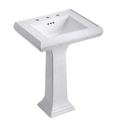 Memoirs Ceramic Pedestal Combo Bathroom Sink with Classic Design in White with Overflow Drain