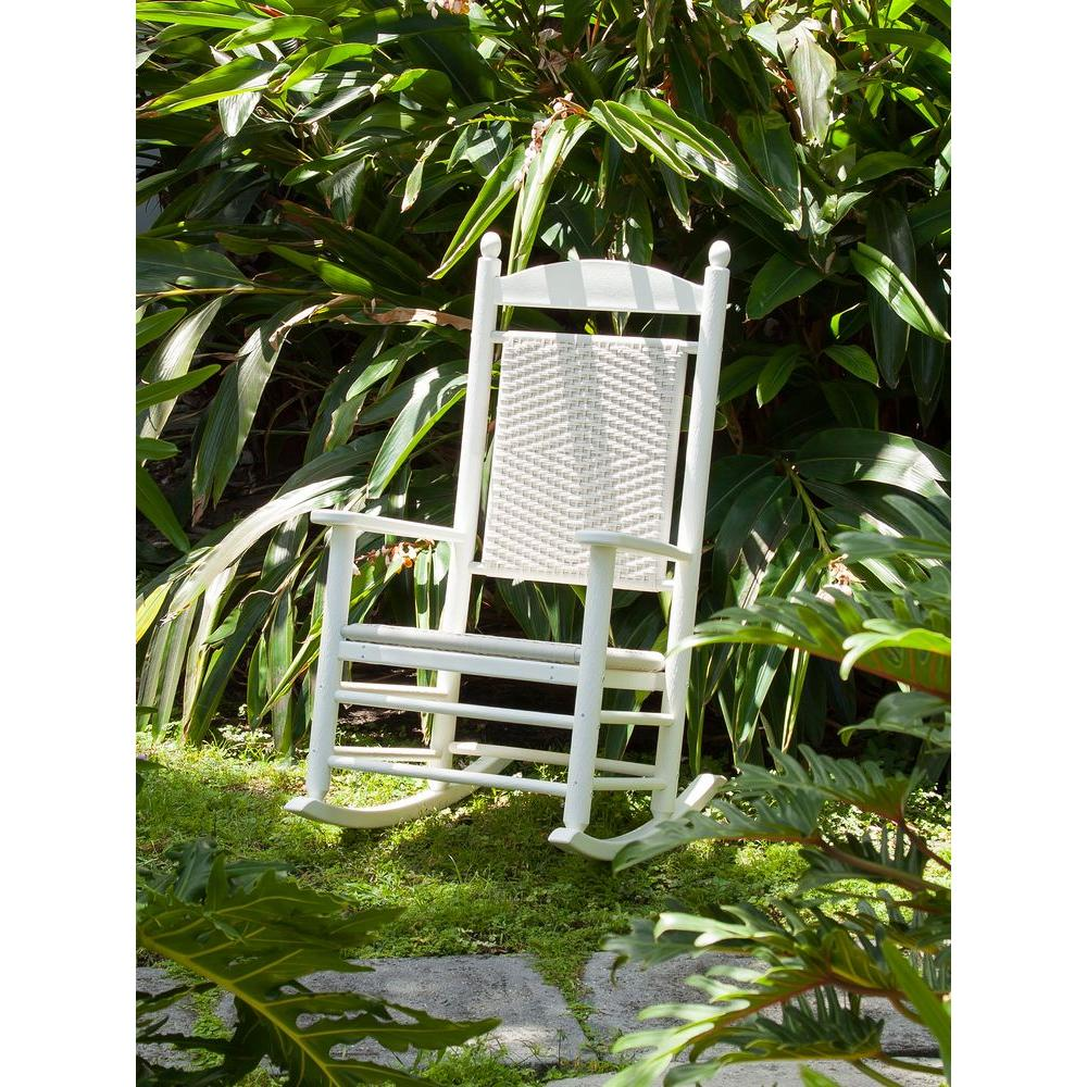 POLYWOOD Jefferson White Woven Patio Rocker With White Loom Weave