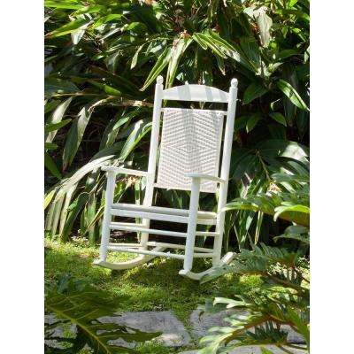 Jefferson White Woven Patio Rocker with White Loom Weave