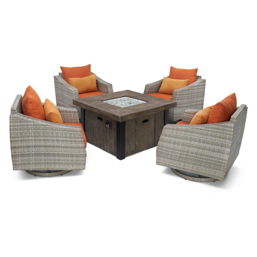 Cannes 5-Piece All-Weather Wicker Fire Pit Patio Conversation Set with Tikka