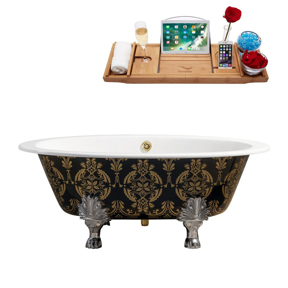 Streamline 65 in. Cast Iron Clawfoot Non-Whirlpool Bathtub in Green and Gold