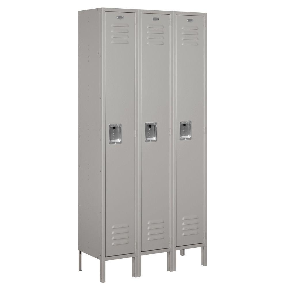 61000 Series 36 in. W x 78 in. H x 12 in. D Single Tier Metal Locker Unassembled in Gray