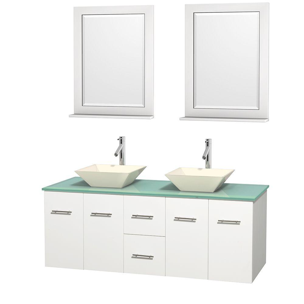 Wyndham Collection Centra 60 in. Double Vanity in White with Glass Vanity Top in Green, Bone Porcelain Sinks and 24 in. Mirrors